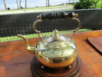 Antique Victorian Style Brass Teapot on Four Legswith Wooden Handle