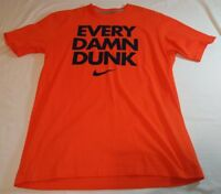 Nike Mens Shirt Orange Size Large Graphic Basketball Dunk Crew Neck