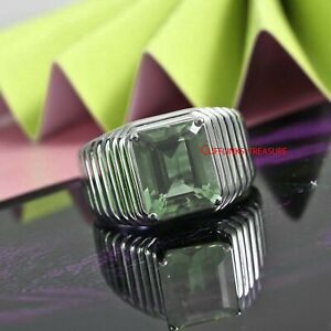 Natural Green Amethyst Quartz Gemstone with 925 Sterling Silver Ring For Men's