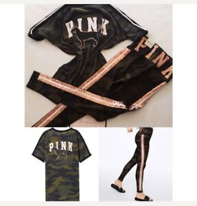 VS Pink rose gold bling Camo Legging & Tee outfit Set