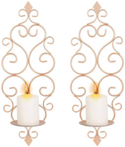 Sziqiqi Iron Wall Candle Sconce Wall Candle Holder Set of 2 Wall Mounted Candle