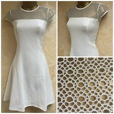NEW EX RIVER ISLAND WHITE LACE TOP RIBBED SKATER DRESS SIZE 8 - 16