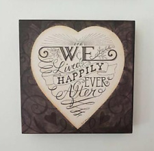 'Happily Ever After' Romantic Heart Deep Square Wall Plaque by Heaven Sends