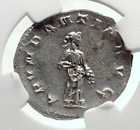 TRAJAN DECIUS Authentic Ancient 250AD Silver Roman Coin w ABUNDANTIA NGC i70554