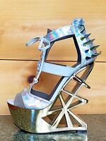 Privileged Novice Silver Hologram Spiked Geo Cut Out Gold Heel Wedge 5.5 - 9