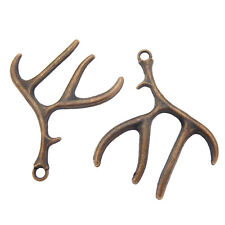 20pcs Antique Copper Red Alloy Deer Antler Charms Pendants Jewellery Craft 51453