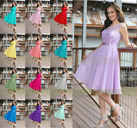 New Knee Length Formal Evening Prom Party Ball Gown Bridesmaid Dress Size 6-16