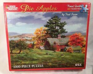 White Mountain Puzzle PIE APPLES 1000 Piece Puzzle Farm Fall Autumn Barn RARE