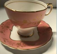 Susie Cooper Bone China Cup and Saucer Pink with Gold Flowers