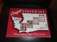 1989 WASHINGTON STATE COLLEGE FOOTBALL MEDIA GUIDE EX-MINT BOX 1