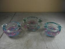 Vintage Hand Blown Thick Glass Floral Ash Trays Matching Set of 3   MID CENTURY