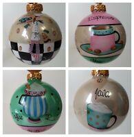 Kurt Adler Coffee Christmas Ornaments Lot Java Espresso Cappuccino Rules Balls