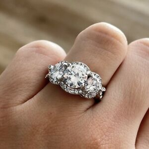 Round Cut Three Stone Halo Rhodium Plated Silver Engagement Ring Promise Ring