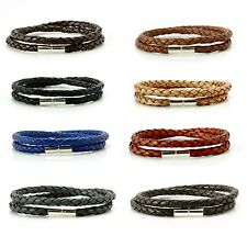 Mens/Ladies Leather Bracelet With 925 Sterling Silver Clasp-Double Wrap Braided