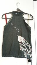 Unique EMMA womens sleeveless halter top one of a kind appliqued silk fish Small