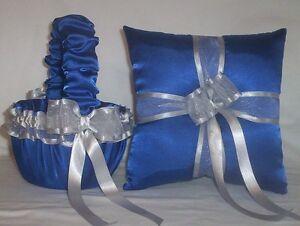 HORIZON BLUE SATIN /  SILVER TRIM FLOWER GIRL BASKET & RING BEARER PILLOW #1