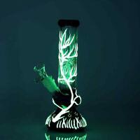 "9"" Hookah Glow In The Dark Water Smoking Pipe Glass Bong Ice Catcher 14mm Bowl"