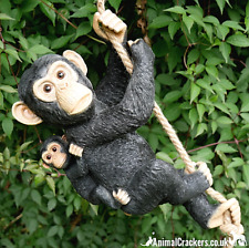 More details for rope hanging monkey mother & baby ornament sculpture figurine chimp lover gift
