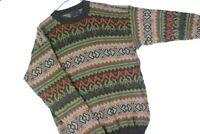 Vintage Alpaca Fair Isle Striped Crewneck Sweater Mens Medium Pullover