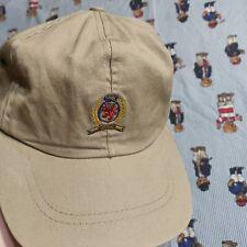 VTG 90s Tommy Hilfiger Tan Crest Leather Strapback Hat Cap Dad Hat Cotton USA