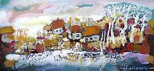 Winter Village / Landscape/ Original Oil Painting by Sergej Hahonin / 25x12cm