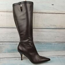 $228 Ann Taylor Womens Brown Leather Knee High Side Zip Heels Pointy Boots Sz 7