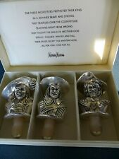 Vintage Neiman Marcus Silver Plate THREE MUSKATEERS Wine Cork Bottle Stopper Set