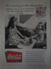 1935 Drink Coca Cola Soda Bottle Glass Girls Roller Skates Original Print Ad