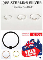 1pc S925 Sterling Silver 22g 0.6mm One Side Fixed Ball Hoop Ring Lip Nose Ear