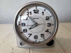Seiko Silver-tone Metallic Case Alarm Clock QHE143ALH