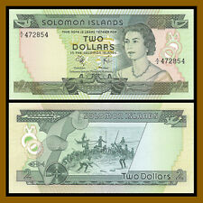 Solomon Islands 2 Dollars, 1977 P-5 Queen Elizabeth II Unc
