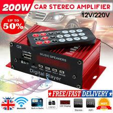200W 12V USB Auto HIFI Audio Stereo Amplifier Bluetooth FM Radio Remote Power