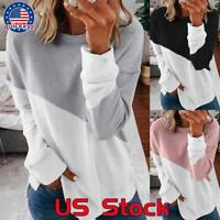 Women Casual Long Sleeve Colorblock T Shirt Blouse Loose Pullover Tunic Tops Tee