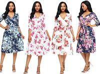 WOMENS LADIES FLORAL SURPLICE NECK WRAP WEDDING PARTY SUN DRESS PLUS SIZE 12-18