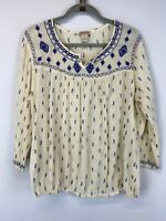 Lucky Brand XL Floral Embroidered Bohemian Top