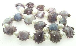 OliveStuart Handmade Lampwork Beads 19 purples lentils
