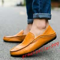Mens Leather Casual Loafers Boats Slip on Shoes Flat Soft Dress Gommino 2020