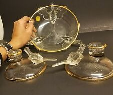 "VINTAGE-8"" bird PHEASANT BOWL Jeannette Depression glass & candle holder set"