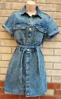 NEW LOOK BLEACHED BLUE ALL BUTTONED UTILITY DENIM JEANS A LINE T SHIRT DRESS 10