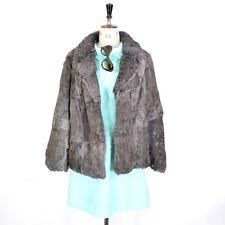 VINTAGE Charcoal Grey REAL CONEY RABBIT FUR Boho Party Glam Wedding Coat UK L