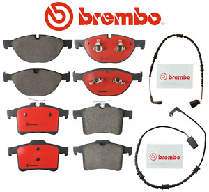 Front Brake Pads & Rear Brake Pad Set OEM Brembo Ceramic + Sensor Jaguar V8 5.0L