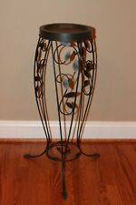 Partylite Retired Verona Wrought Iron 3 Wick Candle Holder Stand with plant top