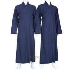 Shaolin Buddhist Monk Robe Meditation Kung fu Uniform Dark Blue Cotton Linen