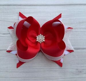 """5""""Handmade Red And White Sparkle Christmas Holiday Boutique Hair Bow"""