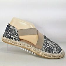 Vidorreta Women Espadrille Cross Strap Flats Navy Blue Canvas Floral Sz 40 US 8