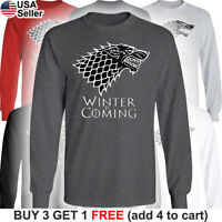 Game of Thrones Stark Long T-Shirt House Dire Wolf Winter is Coming Direwolf GoT