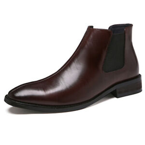Mens British Style Pointed Toe Ankle Chelsea Boots Fashion High Top Shoes Party