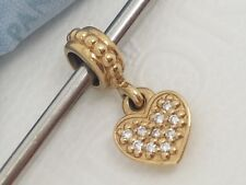 Authentic Pandora 14k 14ct Gold Love Heart Diamond Dangle Bead Charm 750809D