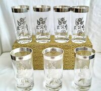 MCM Georges Briard Silver Damask Signed High Ball Glasses Mad Man Era Set of 7