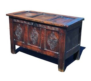 Georgian Carved Oak Chest / Blanket Box, Coffer